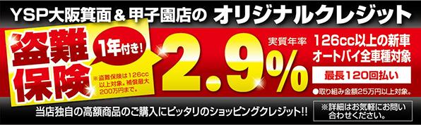 YSP大阪箕面・甲子園オリジナルクレジット盗難保険1年付実質年率2.9%